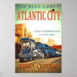 El poster brillante del tren azul del cometa