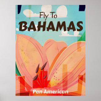 El poster clásico del viaje del vintage de Bahamas