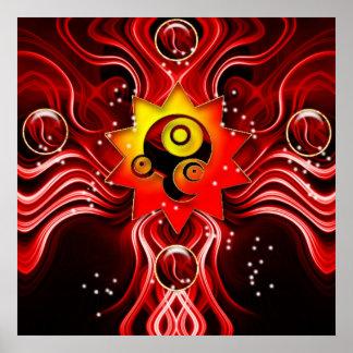 El poster cósmico encantado de la llama