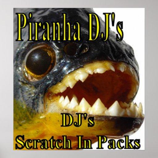 El poster de DJ de la piraña Póster
