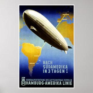 El poster de Graf Zeppelin Line Vintage Travel
