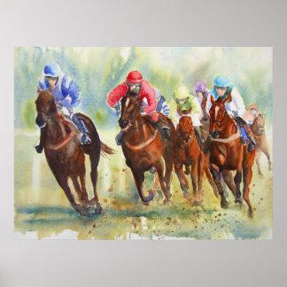 El poster de la carrera de caballos de la caza