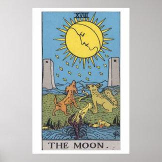 El poster de la carta de tarot de la luna