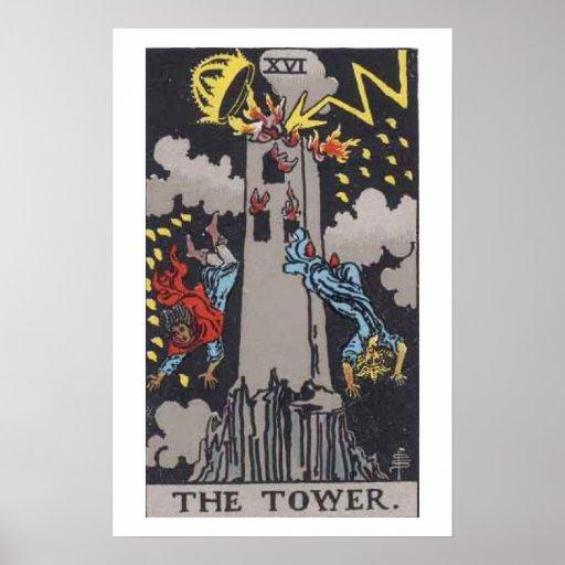 El poster de la carta de tarot de la torre