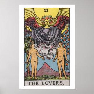 El poster de la carta de tarot de los amantes