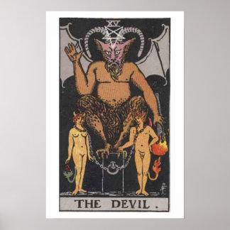 El poster de la carta de tarot del diablo