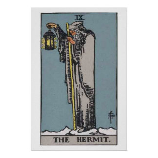 El poster de la carta de tarot del ermitaño