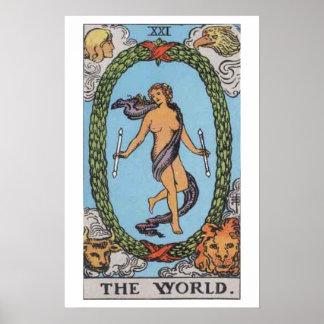 El poster de la carta de tarot del mundo