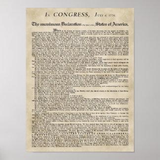 El poster de la Declaración de Independencia