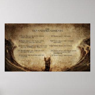 el poster de la pared de 10 mandamientos póster
