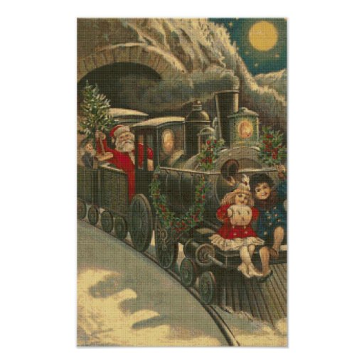El poster de la puntada de la cruz del tren de póster