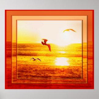 El poster de los pájaros de la puesta del sol
