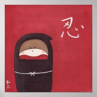 El poster de Ninja del mono del calcetín