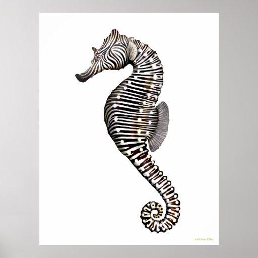 El poster del arte del Seahorse de la cebra