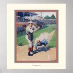 El poster del béisbol del vintage del ~ del juego