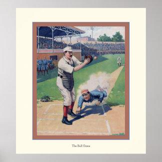 El poster del béisbol del vintage del del juego