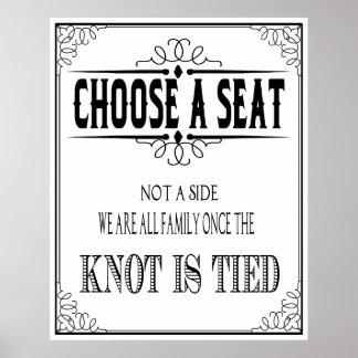 """El poster del boda """"elige un asiento"""" blanco y"""