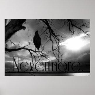 El poster del cuervo - nunca más árbol B&W de los