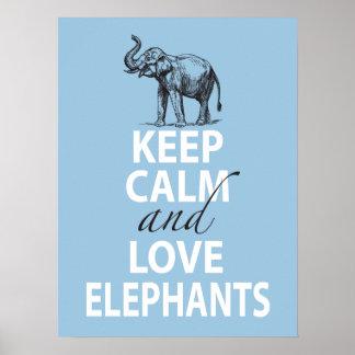 El poster del elefante guarda calma y ama los elef