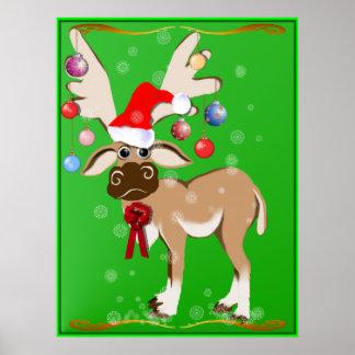 El poster del reno del navidad
