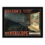 El poster del teatro del vintage de Vitascope Tarjeta Postal