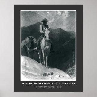 El poster del vaquero del vintage del guardabosque