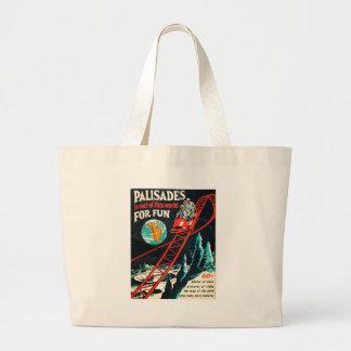 El poster del vintage de las palizadas bolsa de tela grande