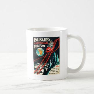El poster del vintage de las palizadas taza de café