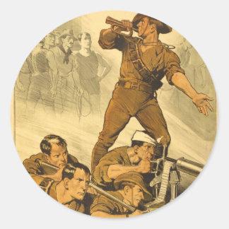 El poster del vintage WW1 de las llamadas de Pegatina Redonda