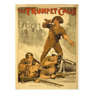 El poster del vintage WW1 de las llamadas de Postal