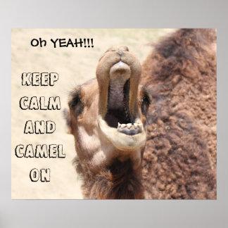 El poster divertido del camello guarda calma y el