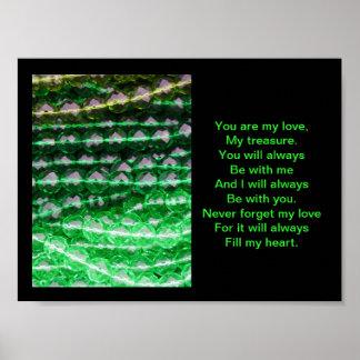 El poster, gotas verdes, ama para siempre