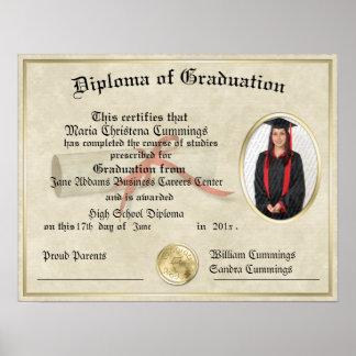 El poster graduado del diploma del regalo