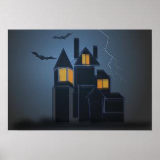 El poster hanuted de Halloween de la casa