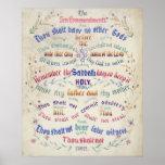 El poster/impresión de diez mandamientos