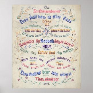 El poster/impresión de diez mandamientos póster