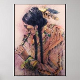 El poster/la impresión del jugador de flauta