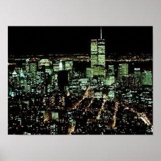 El POSTER NYC~ en noche de las torres gemelas del
