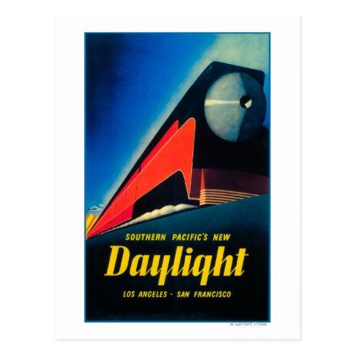 El poster promocional del tren de la luz del día tarjetas postales