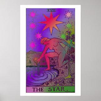 El poster psicodélico de la carta de tarot de la e