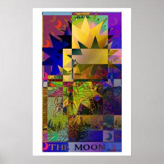 El poster psicodélico de la carta de tarot de la l