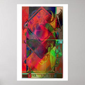 El poster psicodélico de la carta de tarot del dia