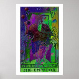 El poster psicodélico de la carta de tarot del emp