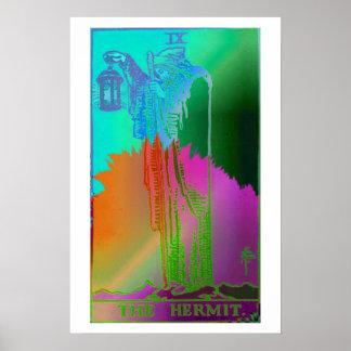 El poster psicodélico de la carta de tarot del erm