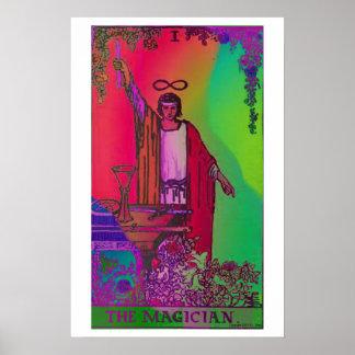 El poster psicodélico de la carta de tarot del mag