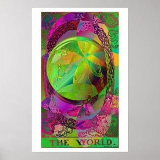 El poster psicodélico de la carta de tarot del mun