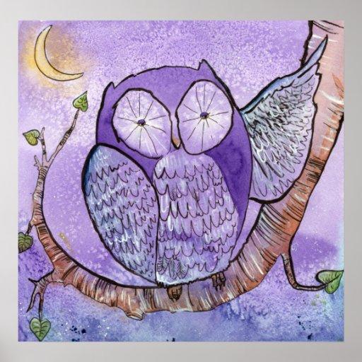 El poster púrpura del búho