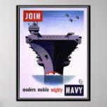 El poster retro del vintage se une a a la marina d