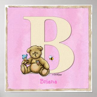 El poster rosado ABC del oso imprime