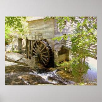 El poster viejo del molino del grano para moler
